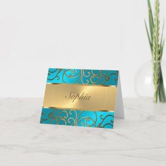Quinceanera Turquoise Blue and Gold Filigree Swirl Invitation