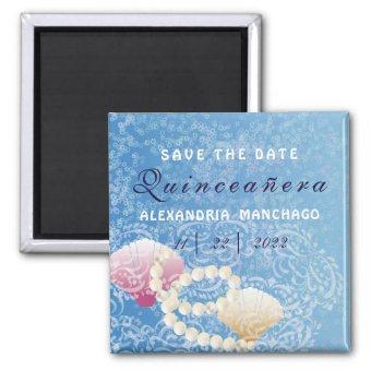 Quinceanera under the sea Save the date shells Magnet