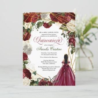 Quinceanera with elegant gown and burgundy florals invitation