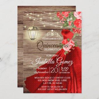 Quinceañera Wood and Red Flowers Invitation