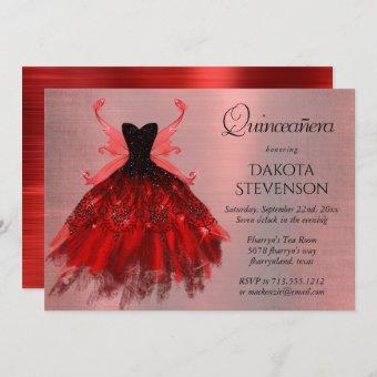 Radiant Iridescent Red Fairy Wing Gown Quinceanera Invitation