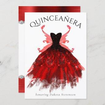 Radiant Red Luxury Gown Fairy Wings Quinceanera Invitation