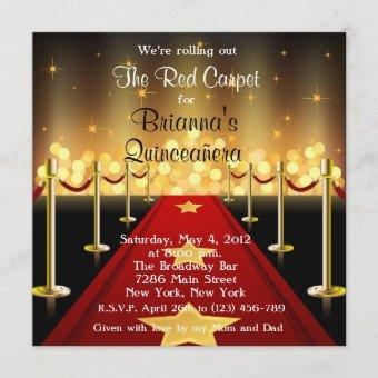 Red Carpet Hollywood Quinceanera Birthday Invite