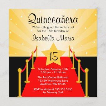 Red Carpet Hollywood Quinceanera Birthday Party Invitation