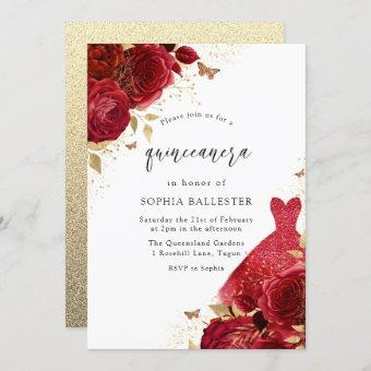 Red Dress & Roses Gold Glitter Quinceanera Party Invitation