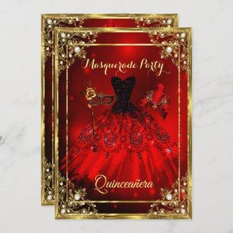 Red Gold Quinceanera Dress Masquerade Party Invitation