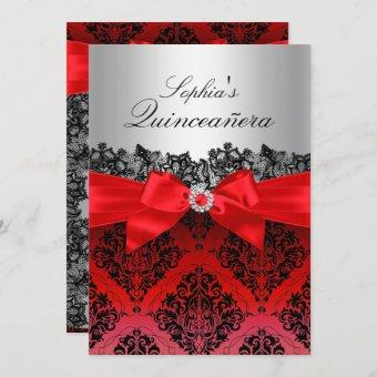 Red Lace Damask & Bow Quinceanera Invitation