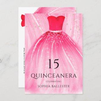 Red Mermaid Dress 15th Quinceanera Party Invitation