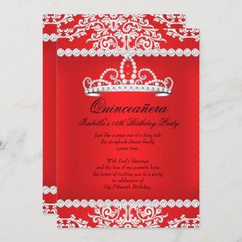 Red Quinceanera 15th Birthday Party Tiara Invitation
