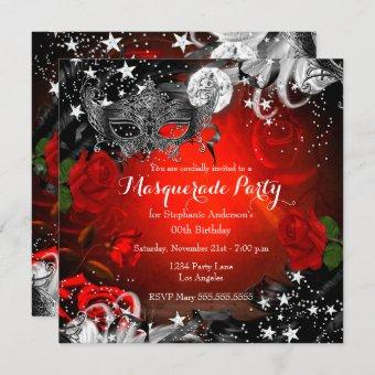 Red Rose Sparkle Magical Night Masquerade Party Invitation