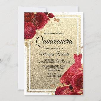 Red Roses Sparkle Dress Glitter Quinceanera Invitation