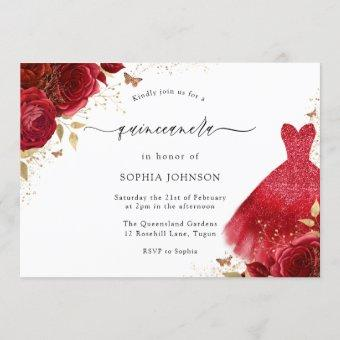 Red Roses Sparkle Dress Gold Quinceanera Party Invitation