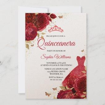 Red Roses Sparkle Dress Shimmer Quinceanera Party Invitation