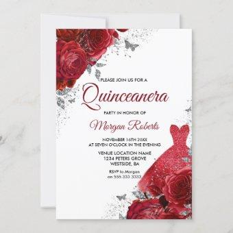 Red Roses Sparkle Dress Silver Quinceanera Invitation