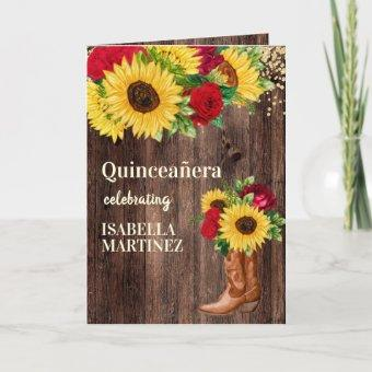 Red Roses Sunflowers Cowgirl Boots Quinceanera Card