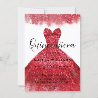 Red Sparkle Dress Quinceanera Party Invitation