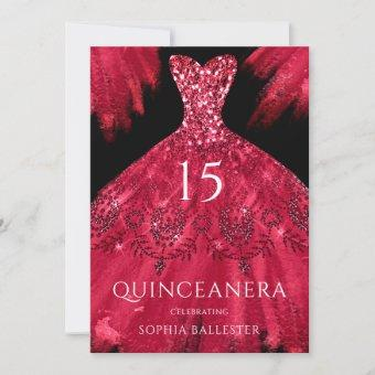 Red Sparkle Gown Black Quinceanera Dress Party Invitation