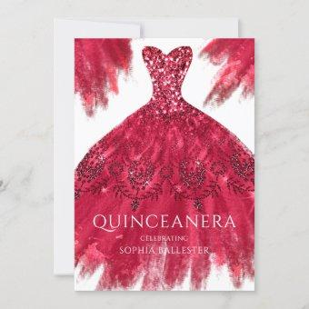 Red Sparkle Gown Elegant Quinceanera Dress Party Invitation