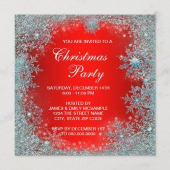 Red Teal Blue Snowflake Christmas Party Invitation