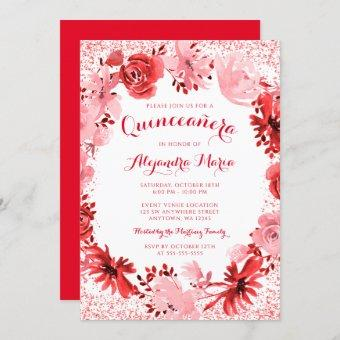 Red Watercolor Floral Quinceanera Invitation