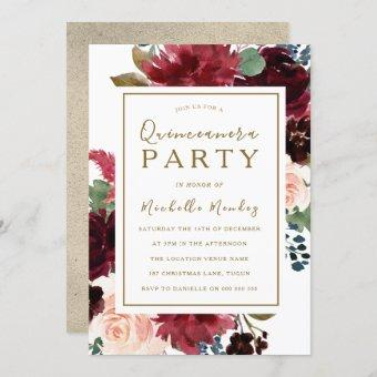 Red Wine Gold Floral Watercolor Quinceanera Party Invitation