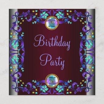 Red Wine Purple Teal Blue Birthday Party Invitation