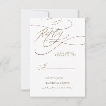 Romantic Gold Calligraphy Simple RSVP Card