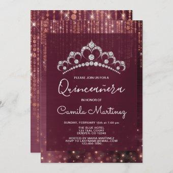Rose Gold and Burgundy Quinceanera with Tiara Invitation