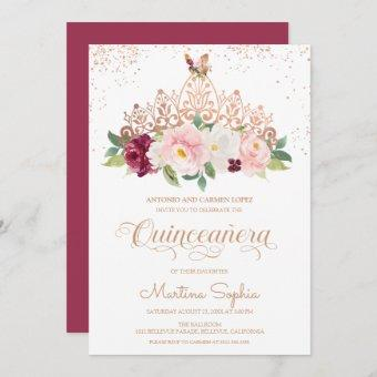 Rose Gold Floral Tiara & Butterfly Quinceanera Invitation