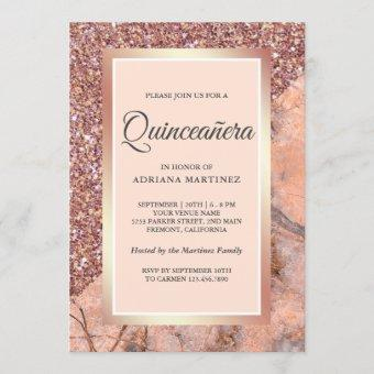 Rose Gold Glitter Coral Pink Marble Quinceanera Invitation