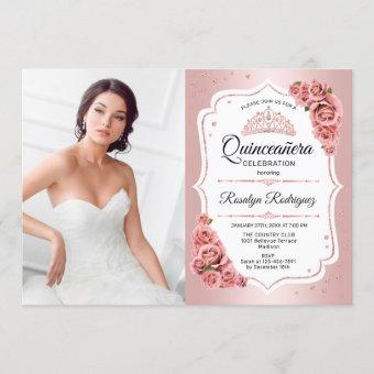 Rose Gold Quinceanera Party With Photo Invitation