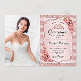 Rose Gold Quinceanera With Photo Invitation
