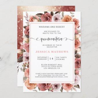 Rose Gold Quinceañera with Pink and Blush Floral Invitation