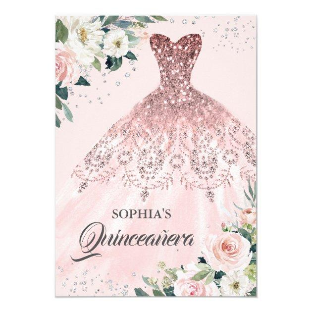 Rose Gold Silver Diamond Gown Floral Quinceanera Invitation