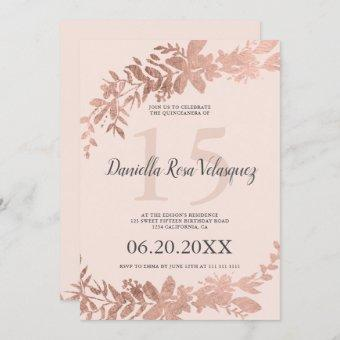 Rose gold typography Floral blush pink quinceanera Invitation