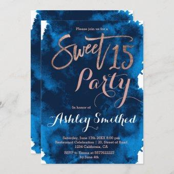 Rose gold typography navy blue watercolor Sweet 15 Invitation