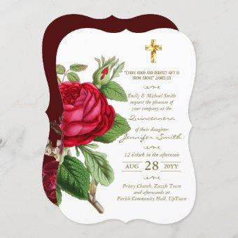 Roses Gold Quinceanera Invites or ANY EVENT