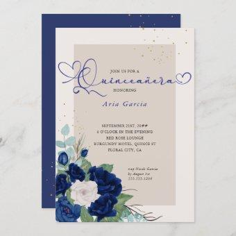 Royal Blue and Ivory Roses Elegant Quinceanera Invitation