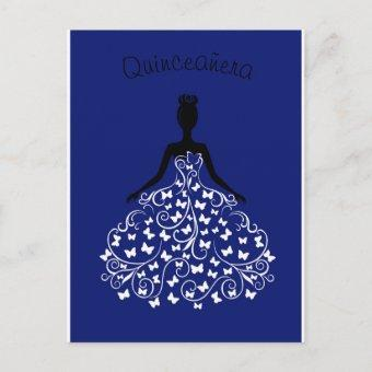 Royal Blue Butterfly Gown Quinceanera Invitation