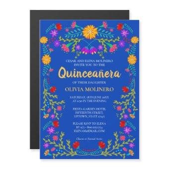 Royal Blue Floral Folk Art Mexican Quinceanera Magnetic Invitation