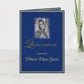 Royal blue floral vines with photo quinceanera card
