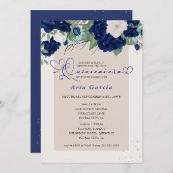 Royal Blue Ivory Floral Roses Quinceanera and Mass Invitation