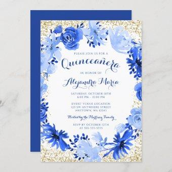 Royal Blue Watercolor Floral Gold Quinceanera Invitation