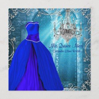 Royal Navy Blue White Quinceanera Invitation