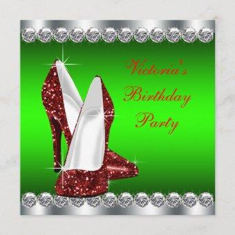Ruby Red and Green Christmas Birthday Party Invitation