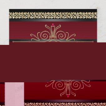 Ruby Red Black Gold Womans Birthday Party Invitation
