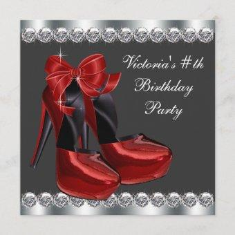 Ruby Red High Heel Shoe Birthday Party Invitation