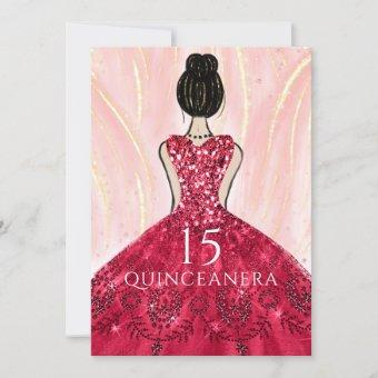 Ruby Red Princess Dress Quinceanera Party Invitation