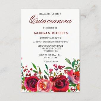 Ruby Red Rose Quinceanera Invitation