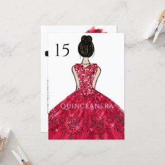 Ruby Sparkle Princess Dress Quinceanera Party Invitation